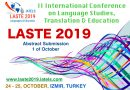 LASTE 2019 – II International Conference on Language Studies, Translation and Education